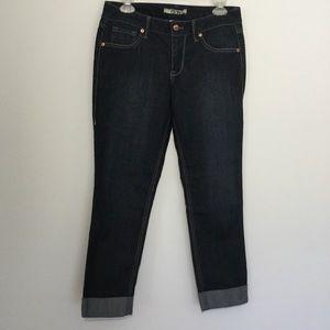 17/21 Denim Jean Capris Dark Wash Crop w/ Cuff 6